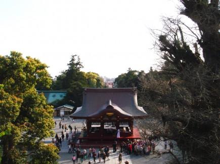 八幡宮石段の上からの眺め